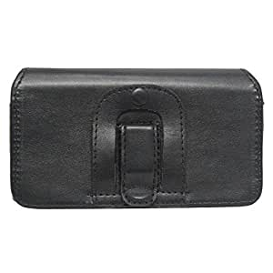 J Cover A4 Plain Belt Case Mobile Leather Carry Pouch Holder Cover Clip For Asus ZenFone 3 Deluxe (ZS570KL) Black