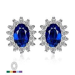 Idea Regalo - JewelryPalace Principessa Diana William Kate Middleton's 1.5ct Sintetico Blu Zaffiro Stud Orecchini 925 Sterling Argento