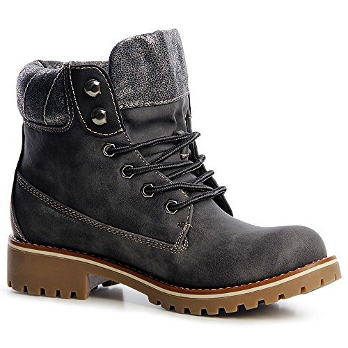 topschuhe24 1212 Damen Worker Boots Stiefeletten Schnürer Grau