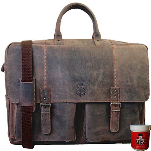 BARON of MALTZAHN 21 Zoll Aktentasche Reisetasche VAN GOGH aus Leder + Lederpflege