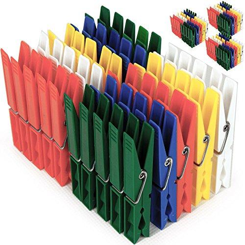 Deuba 200x Wäscheklammern aus Kunststoff - Wäscheklammer Klammern • extra Starke Feder mit verzinktem Stahldraht • 5 witterungsbeständig