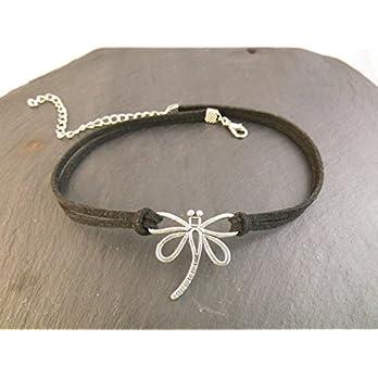 Choker Halskette Kette Kropfband Halsband Libelle enganliegend Handmade