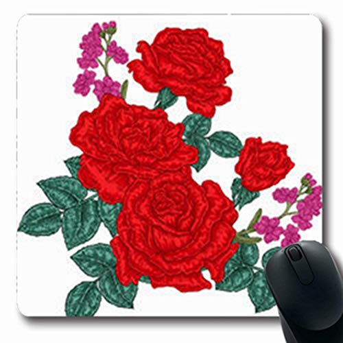 Mousepads art red roses bouquet vintage style hand flower tattoo nature wild rose flowers drawing sketch line oblong shape 7.9 x 9.5 inches oblong gaming mouse pad non-slip mouse mat