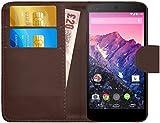 G-Shield Hülle für Google Nexus 5 Klapphülle mit Kartenfach und Magnetverschluß Kunstleder mit Displayschutzfolie und Stylus - Braun