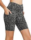 "Sudawave Women's 8"" High Waist Tummy Control Workout Yoga Running Shorts Pants Side Pockets"