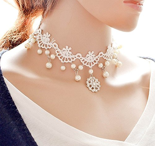 Hosaire Choker for Women Girls, White Classic