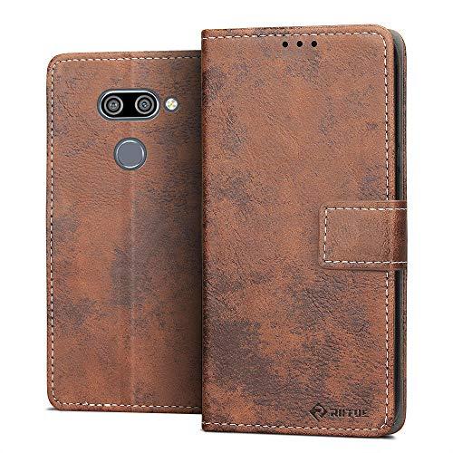 RIFFUE Hülle für LG Q60 Hülle, LG K50/LG Q60 2019 Schutzhülle Retro PU Leder Case Vintage Brieftasche Handyhülle Flip Cover mit Kickstand & Card Slots 6,26 Zoll - Braun