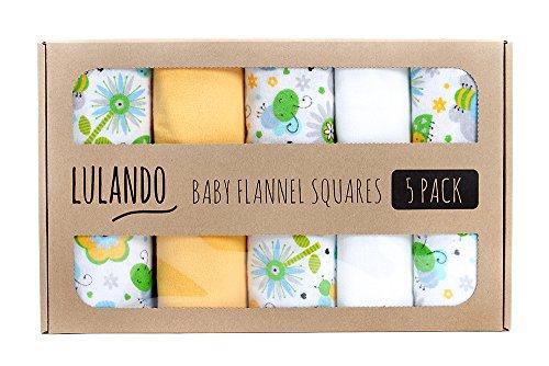 LULANDO Stoffwindeln und Moltontücher 70x80cm (5er Set). Waschbare Windeln und Spucktücher für Ihr Baby. Farbe: Grüne Bienen