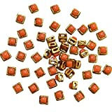 #10: Embroiderymaterial Kundan Stone for Jewellery,Craft,Embroidery Making, Orange Color, 50 Pieces