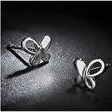 Zarte 8,2mm 925 Sterling Silber Ohrringe Schmetterling 3D Damen Trend Ohrstecker Paar