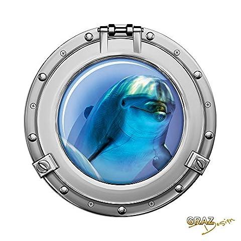 Stickers muraux sticker autocollant pour la salle de bain dauphin hublot (Hauteur=57x57cm)