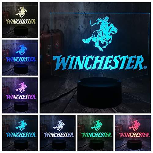 SSYYJJ Lampada da tavolo 3D da tavolo 3D per bambini LOGO Winchester Cool Shot9un Arms Weapon Decorazione domestica del comodino della camera da letto