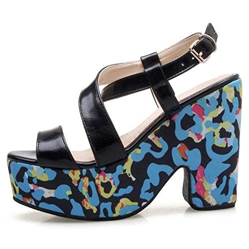 COOLCEPT Femme Mode Bout Ouvert Sandales Talon Bloc Slingback Chaussures Noir