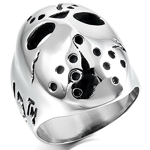 MunkiMix Acero Inoxidable Anillo Ring Banda Venda Negro El Tono De Plata Jason Máscara Mask Hueco Filigree Filigrana Abierto Talla Tamaño 15 Hombre