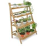 Echotang Bamboo Plant Stand 4 Tier Faltbare Leiter Organizer Blumen Display Regal Rack für Home Terrasse Rasen Garten Balkon