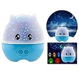 Itian Mini Pig Formatos de Rotación de la Proyección del Cielo de la Estrella LED del Proyector Ligero de la Noche con el Altavoz, para la Habitación de los Niños, etc. (Azul)