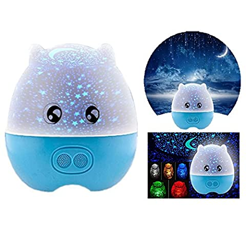 Itian Multi-Function Mini Pig Shape Rotating Projection Sky Star Master USB LED Projector Night Light Kids Bedroom Bed Light for Christmas Light with Speaker