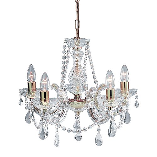 THLC 5 Light Marie Therese Crystal Chandelier Ceiling Light with Gold Trim