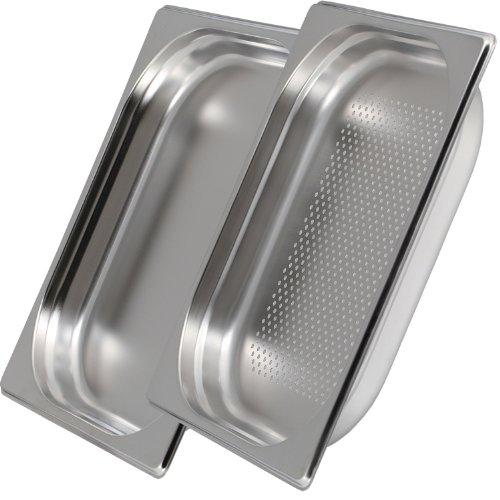 Greyfish 2er GN Behälter Set :: 1x gelocht / 1x ungelocht :: für Gaggenau/Miele/Siemens Dampfgarer (Edelstahl/Spülmaschinen geeignet, GN 2/3, B 32,5 x L 35,4 x 40mm tief)
