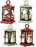 Lanterna porta candela tea light natalizia in ceramica e vetro addobbo natale