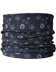 Braga para el cuello, pañuelo de microfibra multifunción, diseño de flores fondo negro