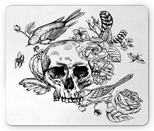 Schwarzweiss-Mausunterlage, toter Schädel blüht Vögel und Federn gotischer mexikanischer Calavera-Entwurf, rutschfestes Gummimousepad des Standardgrößen-Rechtecks, rotes schwarzes Weiß -