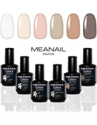 COFFRET MANUCURE VERNIS SEMI-PERMANENT  Coffret NUDE ❤️  6 VERNIS GEL POLISH 5ml  Blanc, Ballerine, Caribbean Sand, Nude, Moccha, Morning Vibes  Semi-permanent  Nail Art  Soak off Nail Polish  Vernis gel professionnel Meanail Paris   Glamour, professionnel & Nail-friendly  Vegan & Cruelty Free