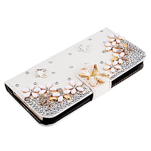 GrandEver 3D Bling Strass Leder Handyhülle für iPhone 5 5S Flip Case Glitzer Schale Tasche Folio Wallet Case Diamant DIY Crystal Cover Schutzhülle mit Standfunktion und Kreditkarte Magnetverschluss +  Blumen und Schmetterling