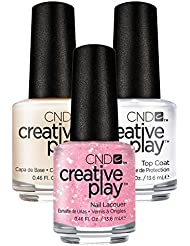 CND Creative Play Pinkle Twinkle Nr. 471 13,5 ml mit Creative Play Base Coat 13,5 ml und Top Coat 13,5 ml, 1er Pack (1 x 0.041 l)