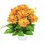 PG Creations Artificial Flower Daisy Bunch Basket with Plastic Pot for Home, Office