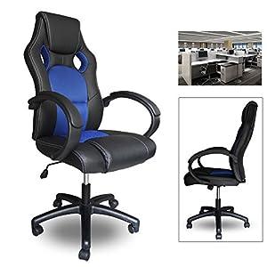 514r6Yv0Q8L. SS300  - HG-Racing-Chair-Silla-de-oficina-Comfort-Chair-Silla-Silla-giratoria-PU-blue-Capacidad-de-carga-120-kg
