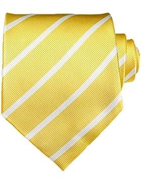 TNS - Corbata de rayas finas, clásica, con pañuelo y gemelos a juego