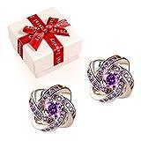 Damen schmuck Ohrringe,Cherish Purple Damen Ohrringe 925 Silber mit Kristallen von Sri Lanka Schmuck Geschenkidee für Frau ,Allergenfrei