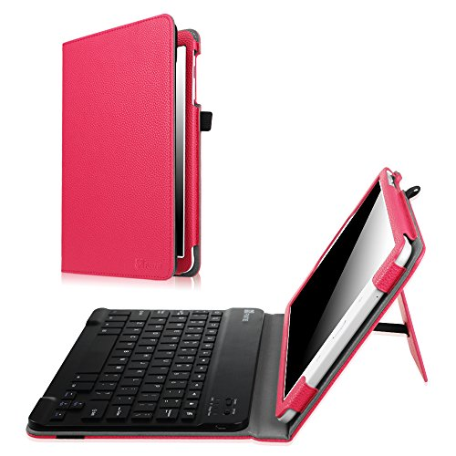 Fintie Samsung Galaxy Tab E 9.6 Keyboard Case Slim Fit PU Leather Stand Cover with Premium Quality [All ABS Hard Material] Removable Wireless [Long Life Battery] Bluetooth Keyboard, Magenta