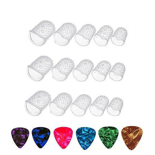 SAIYU protectores de dedos de guitarra 15 piezas L / M / S / XS / XXS tamaño protectores de dedos de silicona transparente con 6 paquetes de selecciones de guitarra surtidos para ukelele guitarra eléctrica