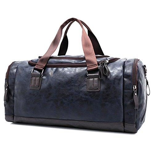 Sporttasche,Foxom Retro Herren PU-Leder Reisetasche Sporttasche Schultertasche Reisegepäck Freizeittasche Groß Handgepäck Tasche,Schwarzer Kaffee Blue