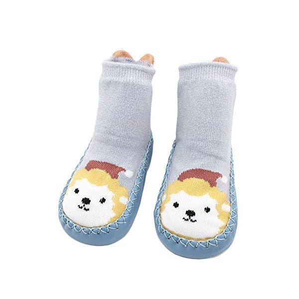 MAYOGO Calcetines Zapatos Antideslizantes para Bebé Calcetines Largos Antideslizantes Estampado Animal para Niñas… 4