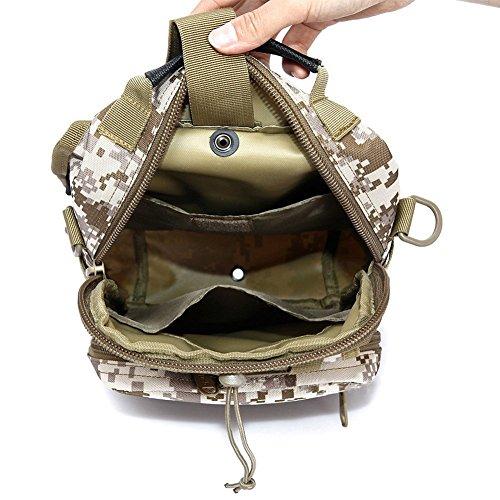 ueasy KOMPAKT Tactical Tasche Handlich vielseitig 3Wege, der Stil MOLLE Tasche Sport Schulter-Rucksack Rucksack für Fahrrad Camping Wandern Trekking Reisen schwarz - schwarz