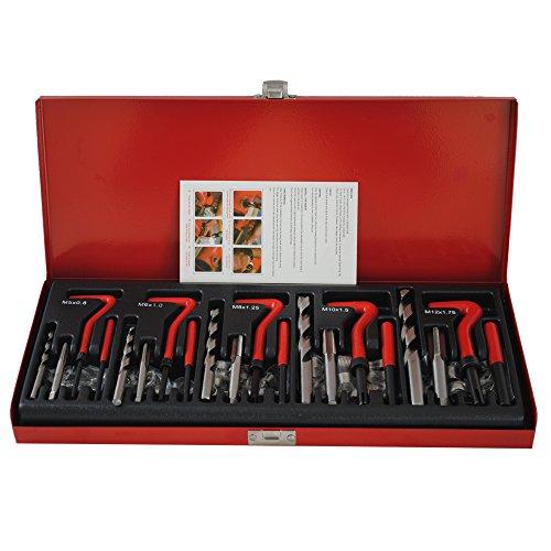 CCLIFE Juego de reparación de roscas 131 piezas M5 M6 M8 M10 M12 kit reparacion roscas helicoidales