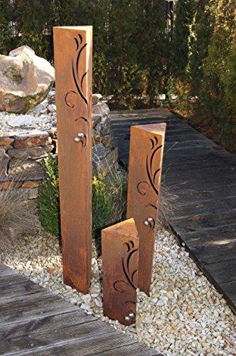 JH-Metalldesign Säulenset Barocco Säule Set Edelrost Rost Romantik Gartendeko Garten Edelstahl – Kugeln