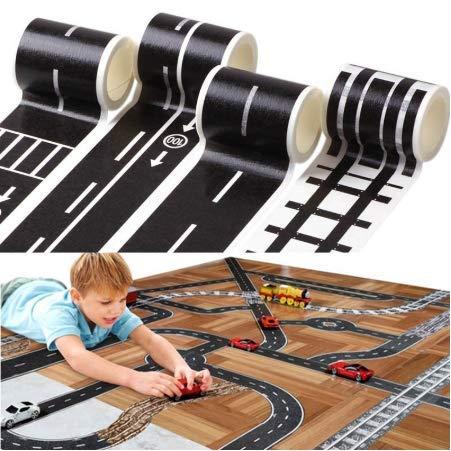 YLGG Heißer Kinder Spielzeugauto Eisenbahn Straße Kreative Verkehr Straßenklebeband Abnehmbare Spielzimmer DIY Track Boden Aufkleber 5 stücke (Kinder-spielzimmer Decals)