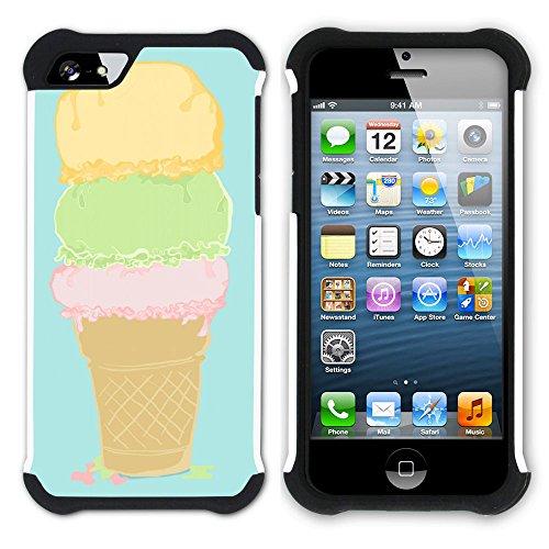 Graphic4You Eis Eistüte Eis am Stiel Hart + Weiche Kratzfeste Hülle Case Schale Tasche Schutzhülle für Apple iPhone SE / 5 / 5S Design #1