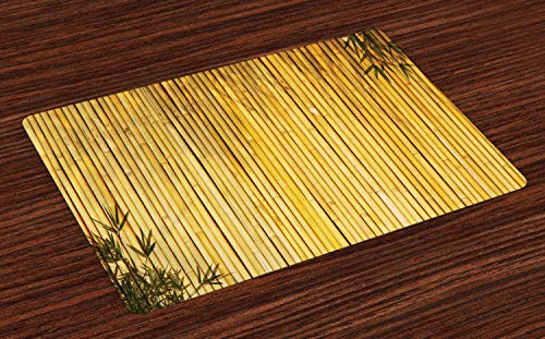 Orientalische Holz-bildschirm (ABAKUHAUS Bambus Platzmatten, Bambus Stängel und Blätter orientalische Natur Holz Bild natürlichen Zen asiatischen Wildlife Theme, Tiscjdeco aus Farbfesten Stoff für das Esszimmer und Küch, Gelb)