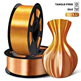 SUNLU 3D Filament 1.75, Shiny Silk PLA Filament 1.75mm, 2KG PLA Filament 0.02mm for 3D Printer 3D Pens, Brass + Red copper