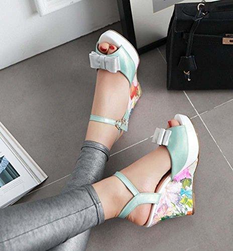 NobS Ceinture de cheville Talons de cale Sandales imprimées Sandales Bow Fish Bouche Peep Toe Chaussures femmes Chaussures de mariage de vacances Blue