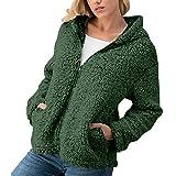 ESAILQ Frau Winter Beiläufig Zipper Jacke Solid Outwear Coat Mantel Außenmantel(X-Large,Armeegrün)