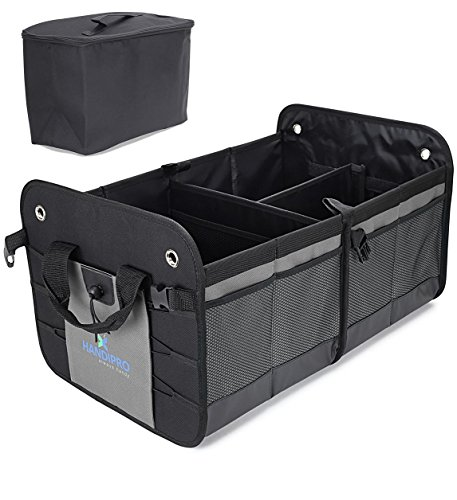 Premium Auto Trunk Organizer (Large) Heavy-Duty Car, Truck and SUV Storage | Compact Vehicle Compartment | 11 Pockets, Adjustable Dividers, Bottle Straps | Incl. Cooler (Box Premium Storage)