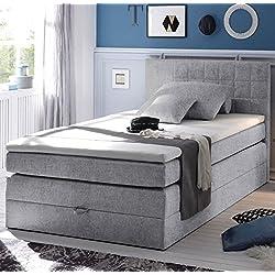 HAWAII Boxspringbett 120x200cm Bett Einzelbett Komfortbett Kinderbett Lichtgrau, Ausführung:Variante 2