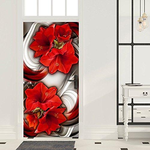 (murando - Türtapete XXL 90x210 cm Vliesleinwand Fototapete Tapete Türpanel Türposter Tür Dekoration Foto Bild Design Blumen Abstrakt Lilien rot a-A-0293-a-c)