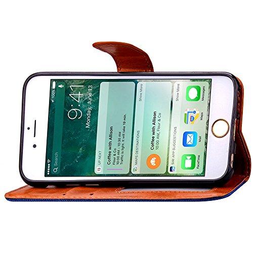 Voguecase Pour Apple iPhone 7 4,7 Coque, Étui en cuir synthétique chic avec fonction support pratique pour iPhone 7 4,7 (ZG-Rose)de Gratuit stylet l'écran aléatoire universelle Motif de vague Cowboy-Gris